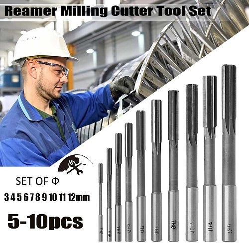 H7 Straight Shank Milling Reamers Set Precision Chucking Machine Cutter Tool 3/4/5/6/7/8/9/10/11/12 mm