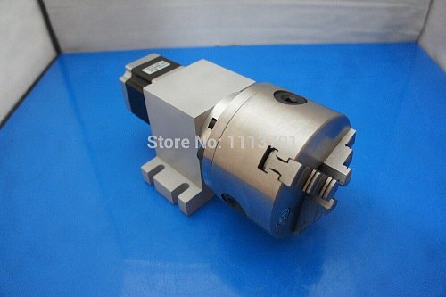 CNC Router Rotational Axis, the 4th Axis, A axis for the engraving machine,80 mm 3-jaw Scroll Chuck ( With harmonic gear box)