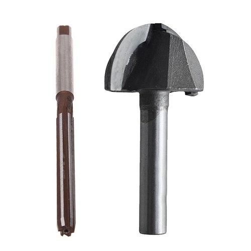 HOT 1 Pcs High Speed Steel Straight Shank 5mm 6-Flute Hand Reamer & 1 Pcs Double Flute Round Nose Router Bit, 45mm Standard