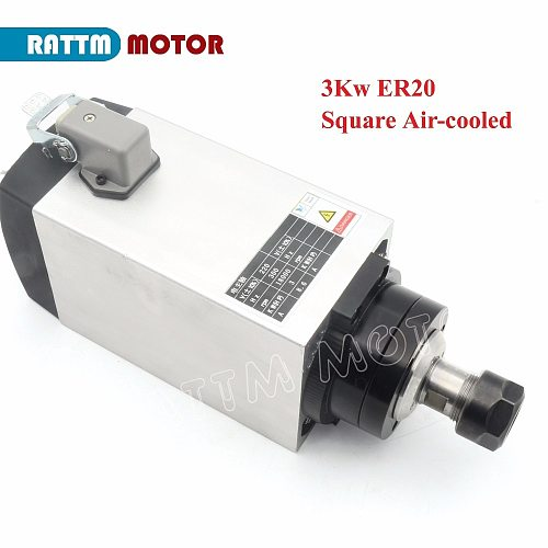RU free shipping 3KW Air cooled spindle motor ER20 220V 18000rpm 300Hz 4pcs Bearings for CNC Router Engraving Milling Machine