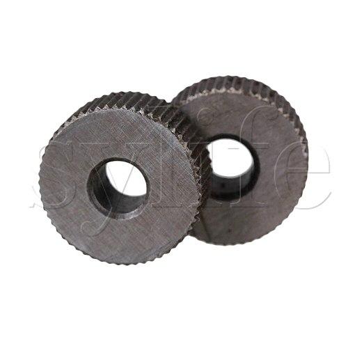 2pcs Knurling Tool Silver Single Straight Wheel Linear Knurl Tool 1mm Pitch