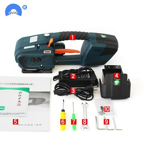 JDC 13mm-16mm PET PP Plastic Strapping Machine Tools Battery Powered 4.0A/12V battery Strap Machine With 2 batteries