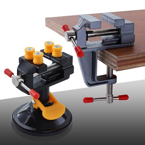 Aluminum Miniature Small Jewelers Hobby Clamp On Table Bench Vise Mini Tool Vice Muliti-Funcationa 360° Rotation