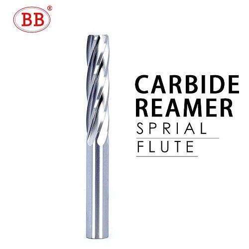 BB Carbide Machine Reamer Spiral Flute Uncoated H7 Tolerance Chucking Metal Cutter 6 Flutes CNC