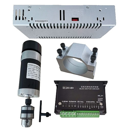 48v 500W Drill chuck Brushless Spindle Motor+57MM Clamp with Screws+ 48V Brushless Motor Driver+48VDC 10.5A Power Supply