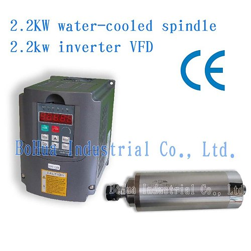 Water Cooled Spindle Kit 2.2KW CNC Milling Spindle Motor 2.2kw Water Cooled Spindle Kit  ER20 + 2.2kw VFD