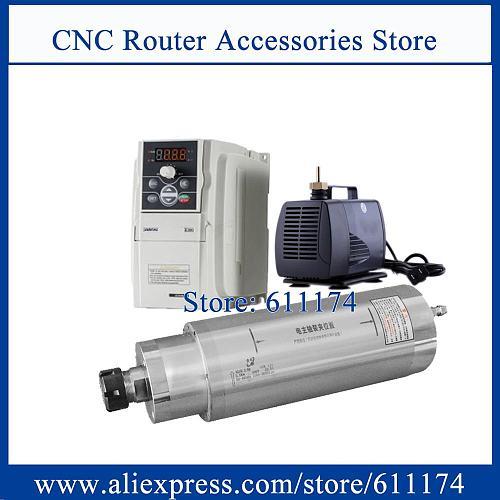 Large torque 5.5Kw AC380V CNC Milling and drilling spindle motor 800-9000rpm ER32 + 5.5kw VFD inverter + DK-5000 Water Pump