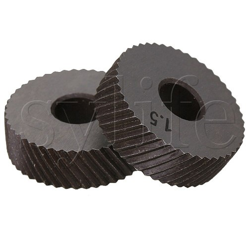 2 x Durable HSS Diagonal Coarse Linear Knurl 1.5mm Pitch Single Wheel 26mm Dia