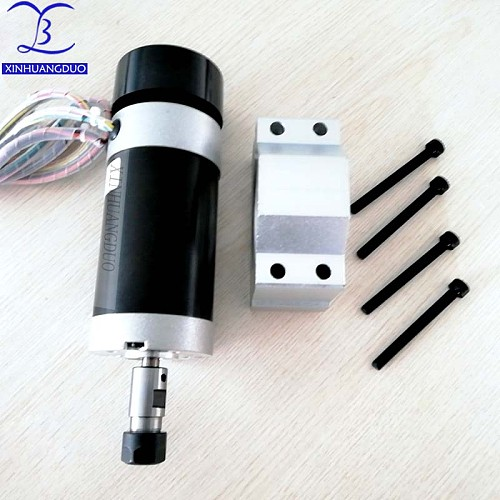 500W Brushless Motor ER11/ER16 Chuck DC 48V CNC Engraving Milling Air Cooled Spindle Motor Carving With Fan + Holder