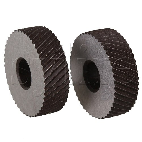 2 x Durable HSS Diagonal Coarse Linear Knurl 1.5mm Pitch Single Wheel 26mm Dia