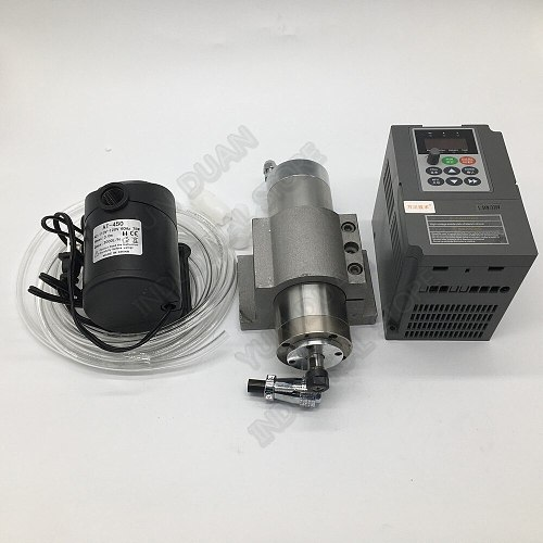 800W 24000RPM 65MM ER11 Water Cooled 4Bearings AC Spindle Motor+ 1.5KW 1PH 220V VFD for CNC Engraving Carving Router Woodworking