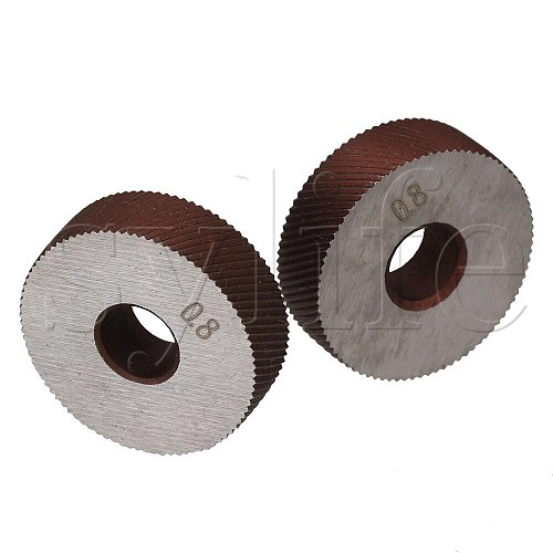 2 x Durable HSS Diagonal Coarse Linear Knurl 0.8mm Pitch Single Wheel 26mm Dia