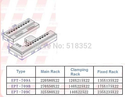 EPT-709 Precision EDM Vise Assembling Modular Fixture , SUS440 Stainless Steel Vise Jig Tools for EDM Wire Cutting Machine