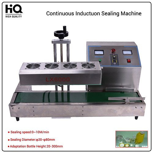 LX6000 Automatic electromagnetic induction foil sealing machine,Stainless Steel Continuous Induction Cap Sealer,20-80mm