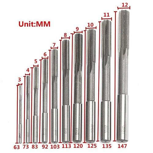 10pcs HSS H7 Straight Shank Milling Reamers Set Precision Chucking Machine Cutter Tool 3/4/5/6/7/8/9/10/11/12 mm