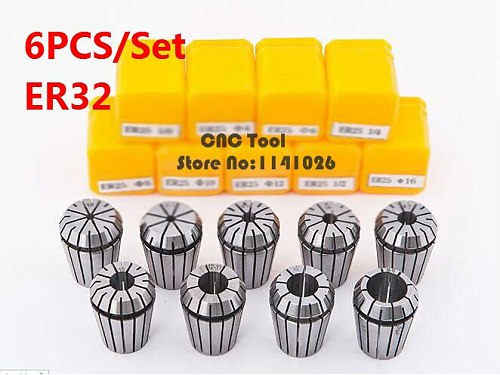 Hot 6pcs/set 6 size ER32 precison spring collet chuck choose from 3mm-20mm For CNC machine lathe accessories