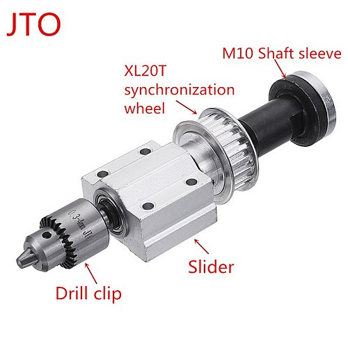 Unpowered DIY Woodworking Cutting Grinding Spindle Trimming Belt B10/JTO Drill Chuck Set Small Lathe Accessories for Table Saw