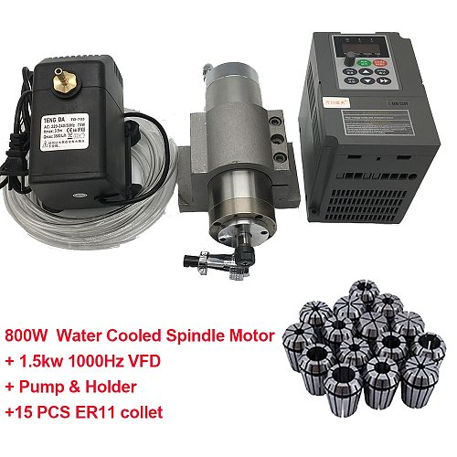 800W 24000RPM Water Cooled 4Bearings Spindle Motor 65x195MM +1.5KW 220V VFD Frequency Converter +Pump+Holder + ER11 Collet Kits