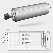 80mm diameter 2.2kw 4-bearing extended water-cooled spindle motor 220V/380V 24000rpm engraving machine spindle