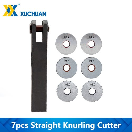 Straight Knurling Cutter Tool 7pcs Straight Linear Knurling Wheel 0.5 1.5 2.0mm Single Wheel Knife Holder Knurling Cutter Set