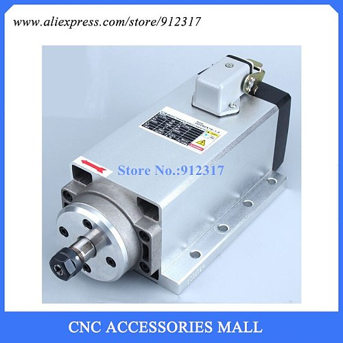 Square 1.5kw air cooled type With Flange ER11 220V Spindle motor ,4 Ceramic bearing for wood cnc router
