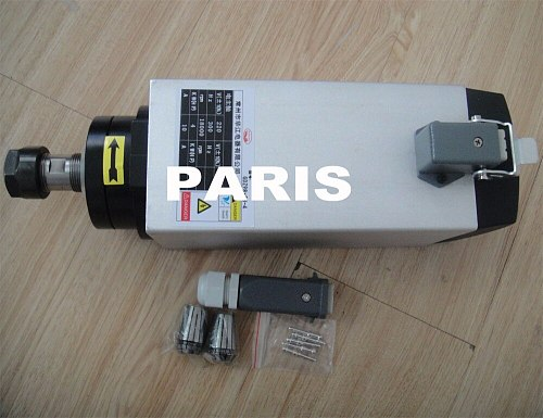 4 KW square spindle motor Air cooled spindle motor for air cooling CNC router spindle motor AC 380V ER20 4 pcs bearings
