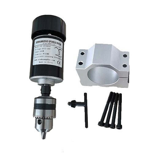 200W Air cooled spindle motor 0.2KW dc motor CNC engraving machine DC12V-24V new High Speed DC Motor  Spindle 10000 RPM With Fan