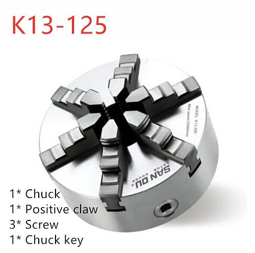 SAN OU K13 Series(Single Positive Claw) K13-125 Self-centering Six Slope Jaws Chuck