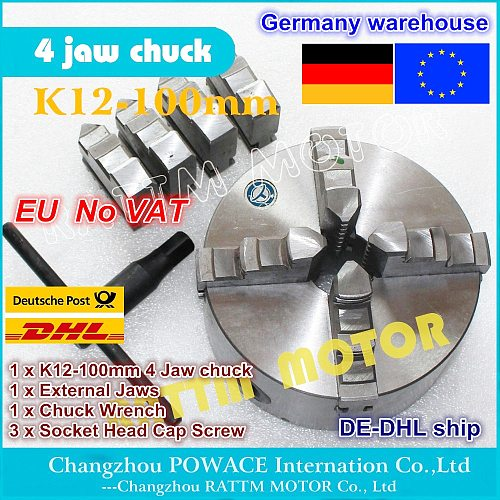 DE ship free VAT K12-100mm 4 jaw self-centering chuck Manual chuck Four 4 jaw chuck Machine tool Lathe chuck