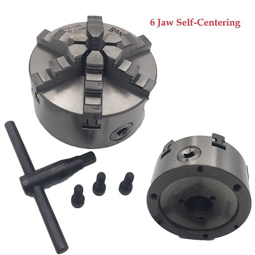 6Jaw Lathe Chuck 100mm 125mm 160mm 200mm Self-centering Six Jaw Chuck CNC Metal Lathe Metalworking Accessory