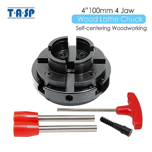 TASP 4  Wood Lathe Chuck 100mm 4-Jaw Self Centering Woodworking with Mount Thread 1 Inch 8TPI/M33x3.5/M18x2.5 for DIYers Hobbies