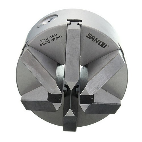 SANOU K13-100 6 Jaw Slope 112mm 4.5'' Lathe Chuck Self Centering Hardened Reversible Mounting Tool for Drilling woodworking