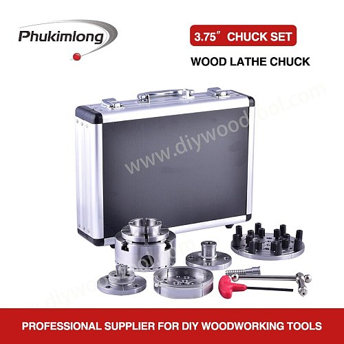 Phukimlong 3.75 inch 95mm 4-Jaws Self-center Wood Turning Lathe Chuck Set Accessories Suits Scroll chuck 4 Number Of chucks