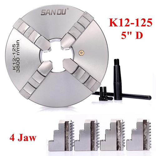 SANOU K12-125 125mm 4 Jaw Self Centering Lathe Chuck with Key for Drilling Milling Machine