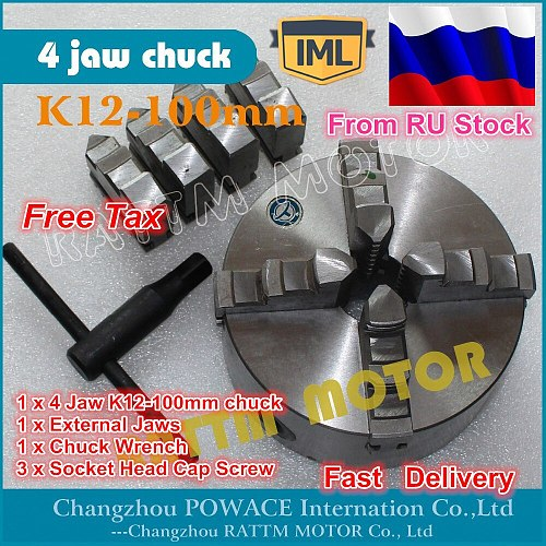 RU ship DIY CNC Manual chuck Four 4 jaw self-centering chuck K12-100mm 4 jaw chuck Machine tool Lathe chuck