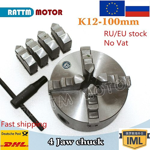 4jaw K12-100mm Manual chuck self-centering chuck CNC Machine tool Lathe chuck RATTM MOTOR