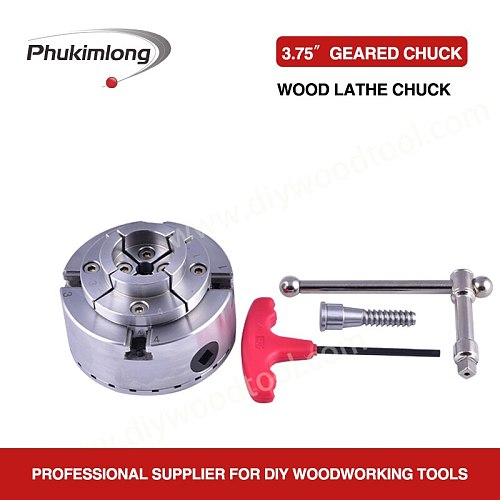Phukimlong 3.75 inch 4-Jaw Self Centering Wood Turning Lathe Scroll Chuck Mini Lathe Woodworking Machine Tool Accessories