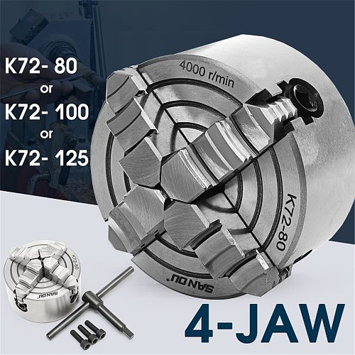 K72- 80/K72- 100/K72- 125 4 Jaw Lathe Chuck 80mm/100mm/125mm Independent Self-Centering 1pcs Safety Chuck Key 3pcs Mounting Bolt