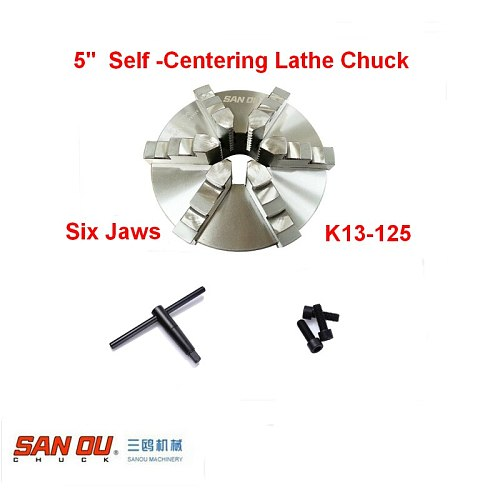 Lathe Chuck SANOU K13-125 6 Jaw 125mm 5''  Self Centering  Hardened Reversible Mounting Tool for Drilling Milling woodworking