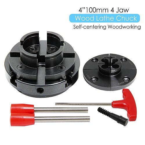 4  100mm Wood Lathe Chuck 4 Jaw Self Centering Woodworking Machine Turning Tool Accessories with 2 Jaw Sets for DIYers Hobbies