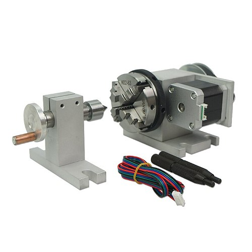 CNC 4th Rotary Axis and tailstock 3 jaw chuck 65mm 50mm cnc 4th axis rotary table Two phase 42 stepper motor tailstock for lathe