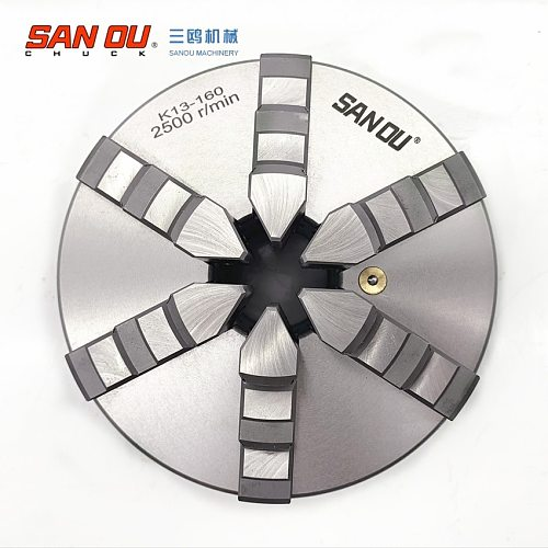 K13-160 six jaw self-centering chuck 160mm lathe part with hardened steel SANOU brand
