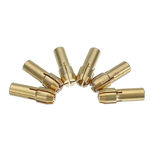 6Pcs 1-3.2mm Brass Drill Collet Chuck with M8x0.75mm Black Alloy Nut Rotary Tool Accessories