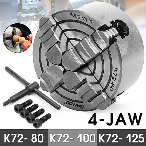 K72- 80/K72- 100/K72- 125 4 Jaw Lathe Chuck 80mm/100mm/125mm Independent 1pcs Safety Chuck Key 3pcs Mounting Bolt