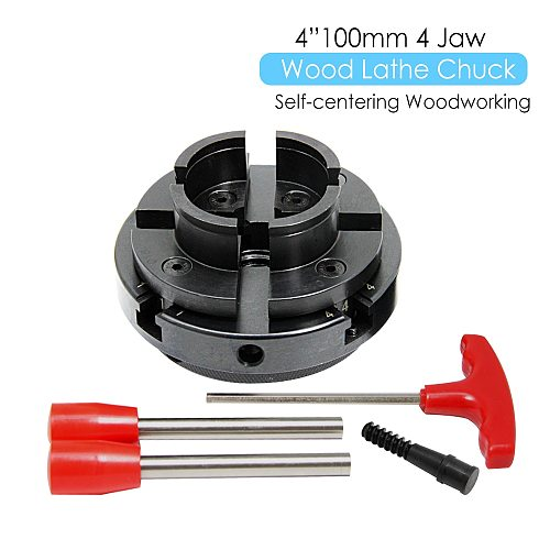 4  Inch Wood Lathe Chuck 100mm 4-Jaw Self Centering Woodworking Machine Turning Tool Accessories for DIYers Hobbies