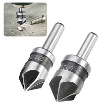 2pcs 5 Flute Countersink Drill Bit HSS 82 Degree Point Angle Chamfer Chamfering Cutter 1/4  Round Shank For Power Tool