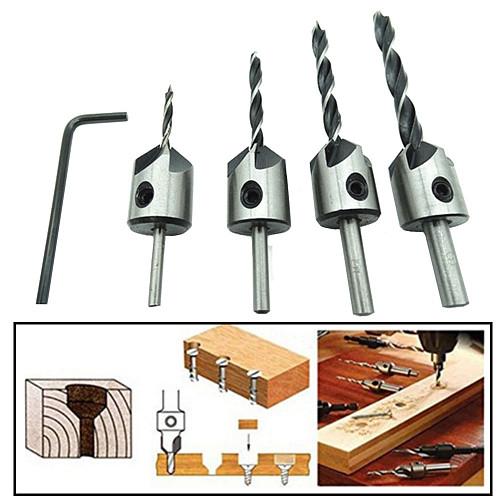 4pcs HSS 5 Flute Countersink Drill Bit Set Carpentry Reamer Woodworking Chamfer End Milling Wood Tool 3mm-6mm ZK74