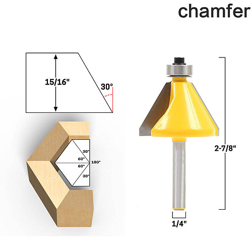 1pc 1/4  Shank 30 Degree Chamfer & Bevel Edging Router Bit woodworking cutter woodworking bits