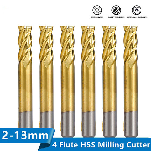HSS Milling Cutter 1.5-13mm Titanium Coated Straight Shank End Mill for Wood Steel Milling 4 Flute Spiral CNC Router Bit