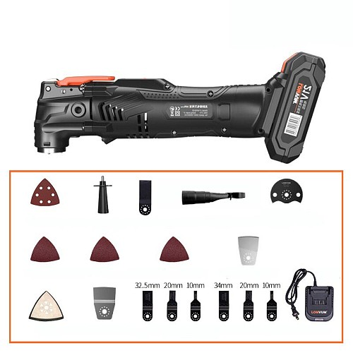 21V Cordless Renovator Oscillating Woodworking Power Tools  DIY Home 6 Variable Speed Multi Cutter Electric Trimmer Blade